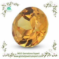 MGOの宝石のラウンドカットの白かラベンダーまたはバイオレットまたは金または黄色またはオリーブまたはガーネットまたは黒いですか紫色のシャンペンカラーバンコクのサファイアの合成物質の鋼玉石