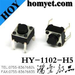 6*6mm 둥근 손잡이 (HY-1102-H5)를 가진 4개의 Pin 복각 재치 스위치 누름단추식 전쟁 촉감 스위치