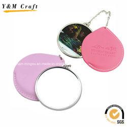 Cuero de impresión personalizados baratos pequeños espejos para el turismo YM1152
