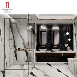 浴室のフロアーリングおよび壁の装飾のための超余分に大きいサイズの大規模のフォーマットの自然なパンダの白い大理石の効果の磁器のタイルの平板の人工的な焼結させた石