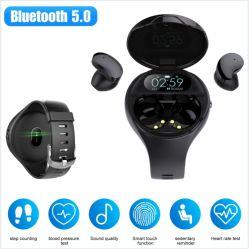 2-en-1 Smart montre avec écouteurs écouteurs sans fil Tracker Fitness oreillettes Oreillette Bluetooth sans fil bracelet (noir)
