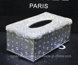 Handmade Crystal Rhinestone Diamond serviette en papier tissu de cas Case titulaire des serviettes de table (CT-008)