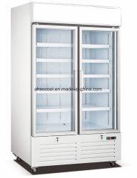 Le ventilateur de refroidissement vitrine de présentation verticale congélateur avec R404A