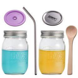 석수 컵 유리제 음료 병 마시는 병 주스 우유 차 단지 놓이는 2개 피스