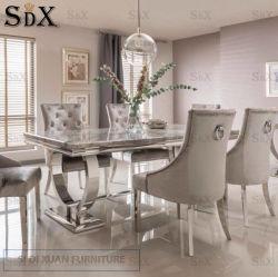 Arianna Table à manger en marbre gris avec base en acier inoxydable