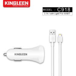 автомобильное зарядное устройство для iPhone 3.1A быстрого автомобильное зарядное устройство USB со спиральным кабелем молнии