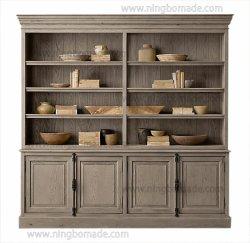 フランスの骨董品および型の応接室の家具によって老化させるカシのコレクションの純木4のドアの本箱