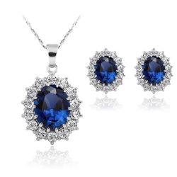 Promotie Gift Wholesale 2018 Top Design Women Fashion Jewelry Accessories Bruiloft Oorbellen Fashion Vrouwen Blue Crystal Jewelry Set