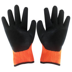 Wear와 Slip Resistance를 가진 높은 Quality 7g Orange Nylon Liner Crinkle Latex Coated Labor Work Safety Glove