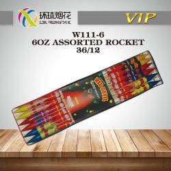 W111-6-6oz Assorted i fuochi d'artificio Assorted esterni del Rocket Liuyang del diavolo rosso di alta qualità del consumatore del Rocket