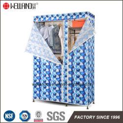 Dormitorio populares ropa estante de almacenamiento portátil Armario metálico de diseño de rack ajustable