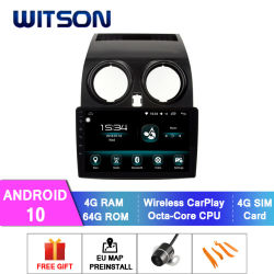 Witson Android 10 Multimedia Player Car voor Nissan 2008-2013 Qashqai 4 GB RAM 64 GB Flash Groot scherm in auto DVD-speler