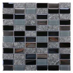 Foshan Commerce de gros de matériaux de construction dosseret de Cuisine Salle de bains en marbre noir Electroplated décoration murale antique rectangle gris pierre cristal mosaïque de verre