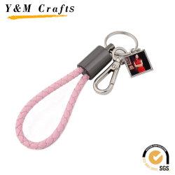 Sublimation-unbelegte lederne Schlüsselkette mit rosafarbenem USB-Kabel
