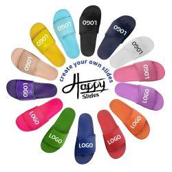 OEM personalizados diapositivas negro Sandalia Calzado de PVC, el logotipo personalizado zapatillas hombres Plain Sandalia de diapositiva en blanco, Zapatillas Sandalia de diapositivas de logotipo personalizado