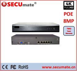 H. 265 4-kanaals 8-KANAALS 16-KANAALS 4K HD-videobeveiliging PoE NVR voor surveillance
