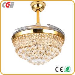 Iluminação do ventilador 42 Polegadas85-265CA V volt Electronics lâmina curva de metal/alumínio Golden Crystal LED ventilador de teto decorativa ventoinha do ventilador Elétrico da Luz de Teto