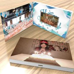 Impresión sin 4.3inch personalizada 7pulgadas Hardcover Saludo Video Folleto