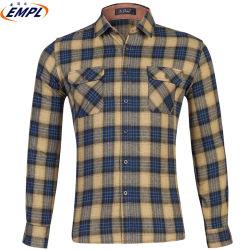 Plaid überprüfte Flanell-Hemden der dünner Sitz-beiläufige Hemd-Mann-100%Cottont