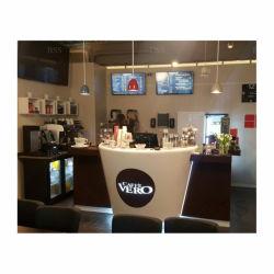 Кафе в коммерческих целях борьбы против полу круглой бар строительство полукруглые твердой поверхности бар со стойкой регистрации