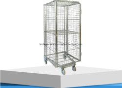 Stockage de sécurité pliable en acier galvanisé de nidification rouleau de filet cage métallique Conteneur pour le supermarché européen