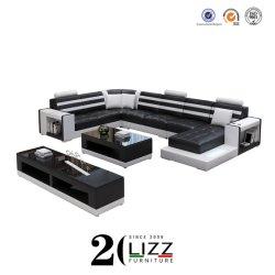 Salle de séjour de loisirs moderne européenne /home /Bureau /Hotel L forme modulaire en cuir véritable de coupe Chesterfield canapé d'angle défini de meubles
