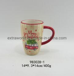 Kundenspezifischer Firmenzeichen-roter frohe Weihnacht-Entwurfs-keramischer Kaffeetasse-Großverkauf