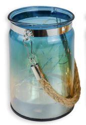 LED de estilo retro azul graduado de vela de vidro titulares, apto para doações para casamento festa, Home, SPA, Reiki, Aromaterapia, Vela Votiva Gardens
