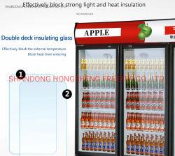 Glastür-Gegenoberseite-Bierflasche-Saft-kaltes Getränk-vertikale Bildschirmanzeige-Getränkeschaukasten-Kühlvorrichtung