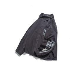 عامة 100% قطن وقت فراغ [منس] طويلة كم مخمل مضلّع قميص مع نسيج مربّع جيب