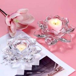 투명 연꽃 장식 유리 촛불 홀더