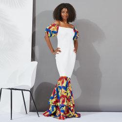 Vendita all'ingrosso Dashiki personalizzato Stampa Off spalla Sleeve corto Sweep Hem Abiti da sposa africani a pavimento lungo Abiti da sposa