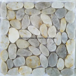 A cor branca cortados em mosaico mosaico de seixos para decoração