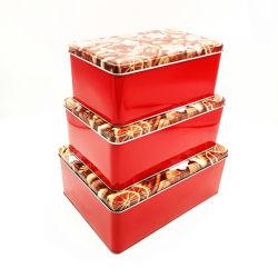 Conjunto de tres alimentos Rectangular tin box de Dulces de Chocolate galletas cookies café té Kichenware los envases de metal
