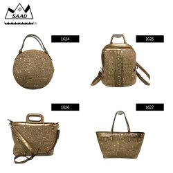 Bolsa de mimbre redonda correas de cuero de hombro elegante bolso de mano natural