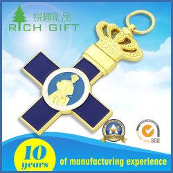 Hochwertiges Custom Metal Cross Shaped Soft/Hard Emaille Logo Vergoldeter Crown Keyring für Souvenir