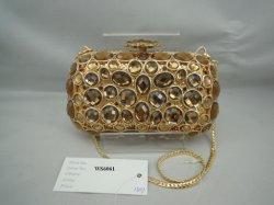 Modieuze steenkristallen tas van goud glas (WS6061)