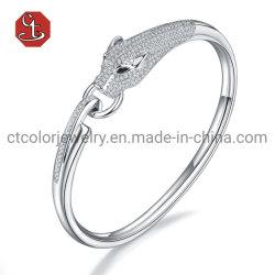 Mode Leopard Animal Cuff Armreif gepflastert AAA Zirkon Stone Panther Kreis Design Silber oder Messing Tier Armreif