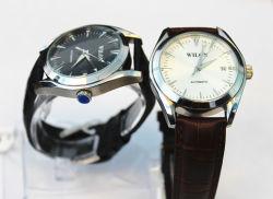 일본 운동 Wilon 물 저항하는 가죽 손목 시계