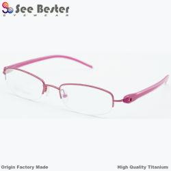 100% de titânio metade de alta qualidade óptica Dama da estrutura de quadros com tr90 Templo, óculos de óculos