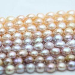 10-11 mm en haut de la qualité baroque Multicolore Biwa perle d'eau douce (E190038)