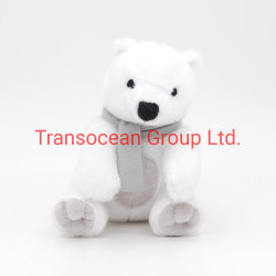 OEM de Douane Gepersonaliseerde Ijsbeer die van het Embleem met Grijze Sjaal &#160 ligt; Het gevulde Speelgoed van de Pluche
