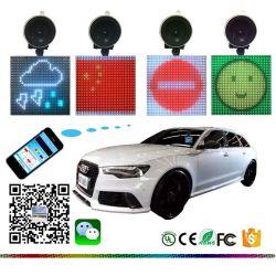 Lo smiley blu senza fili di Emoji del dente del telefono mobile di colore completo affronta il segno dell'automobile del LED
