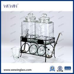 6つの雨滴のコップおよび鉄の立場が付いている2つのガラスジュースのバレルの熱販売