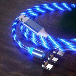1m 3 en 1 découlant de lumière LED lumineux magnétique Câble de recharge de téléphone cellulaire pour IOS Android de type C