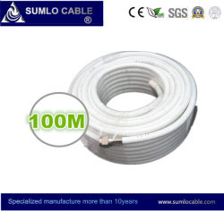 F Connector를 가진 Cable 인공위성 RG6 White PVC 100meter