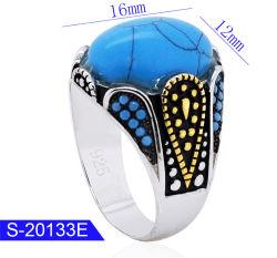 Новая модель мода украшения 925 серебристые бирюза камень мужчин кольца для продажи