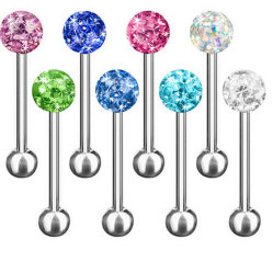 舌の刺すようなBarbellの宝石類のマルチFeridoのクリスタル・ボールボディ宝石類