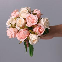 Grinaldas de flores artificiais 12 Chefes Seda Mini bouquet de flores de rosas para casamento Home