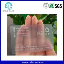 Carte en plastique transparent en PVC Effacer carte pet